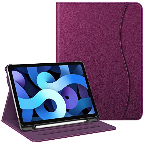 Fintie Case for iPad Air 4 10.9 Inch 2020 with Pencil Holder, Multi-Angle Viewing Cover [Supports Pencil 2nd Gen Charging] with Pocket, Auto Sleep/Wake for iPad Air 4th Generation, Purple