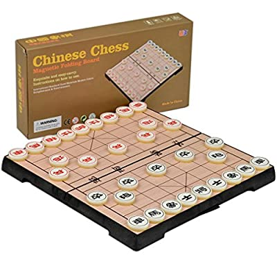 Chinese Chess Xiangqi Magnetic Travel Set, 9.5 Inches in Length
