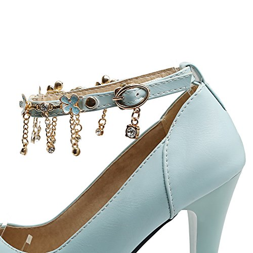 VogueZone009 Women's PU Round-Toe High-Heels Buckle Solid Pumps-Shoes Blue heL7g