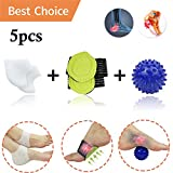 Plantar Fasciitis Inserts, Arch Support, Massage Ball, Best for Heel Pain Treatment, Cracked Heel Protectors, Foot Massager, Flat Feet, Relieve The Swelling and Tingling.(5 PCS) (White)