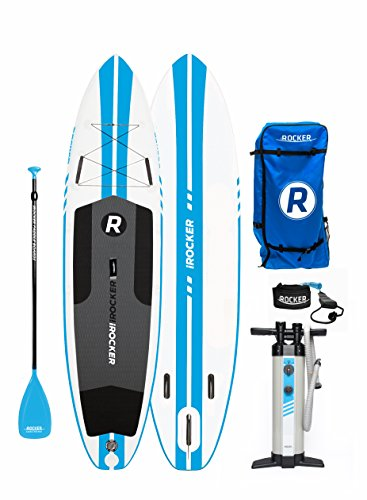 iROCKER All-Around Inflatable Stand Up Paddle Board 11 Long 32 Wide 6 Thick SUP Package (White/Blue Stripe 2018)