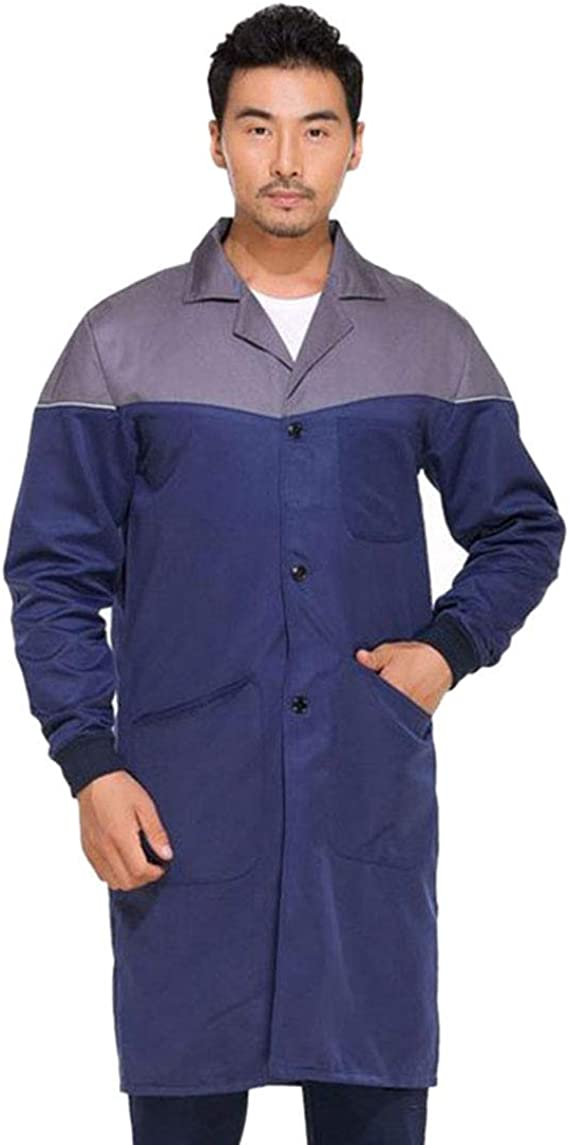MJL Shop Coat Work Cotton Workwear Coat Long Sleeve Industrial for Men Women