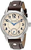 Bulova Men's 'Gemini' Mechanical Hand Wind Stainless Steel and Brown Leather Casual Watch (Model: 63A121)