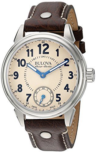 Bulova-Mens-Gemini-Mechanical-Hand-Wind-Stainless-Steel-and-Brown-Leather-Casual-Watch-Model-63A121