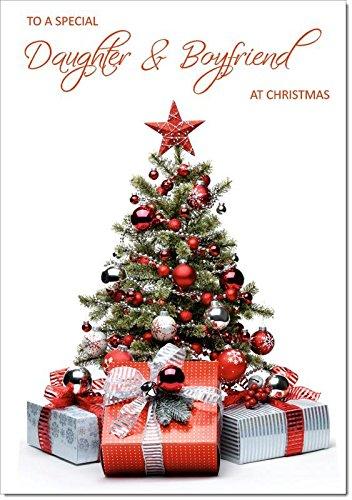 Hija y novio tarjeta de Navidad paquetes y árbol de Navidad ...