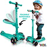 KicksyWheels Scooters for Kids with Seat Folding and Removable - 3 Wheel Toddler Scooter for Boys & Girls - Toddlers and Kids Toys for 2 Year Old and Up - Three Heights & Light Up Wheels