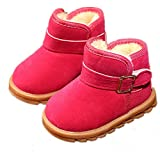 EsTong Toddler Baby Boy Girl Thick Winter Outdoor Snow Boots Anti-Slip Fur Lined Booties Rose 23:24-28Months/5.5'