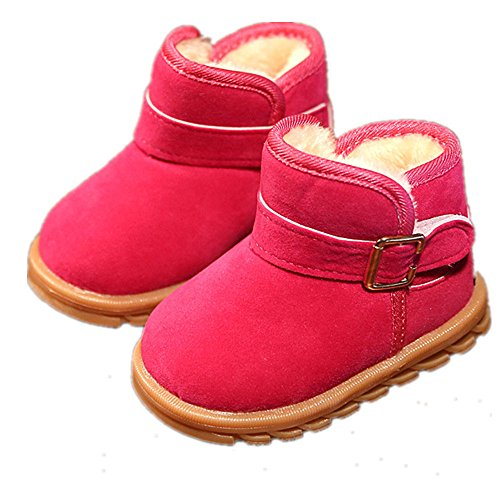 (EsTong Toddler Baby Boy Girl Thick Winter Outdoor Snow Boots Anti-Slip Fur Lined Booties Rose 21:12-18Months/5.1