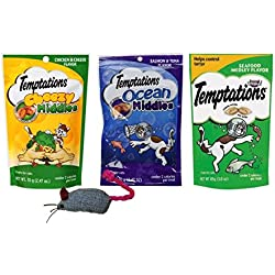 Temptations Low Calorie Cat Treats 3 Flavor Variety with Toy Bundle, 1 each: Chicken & Cheese Cheesy Middles, Salmon & Tuna Ocean Middles, Seafood Medley (2.47-3 Ounces)