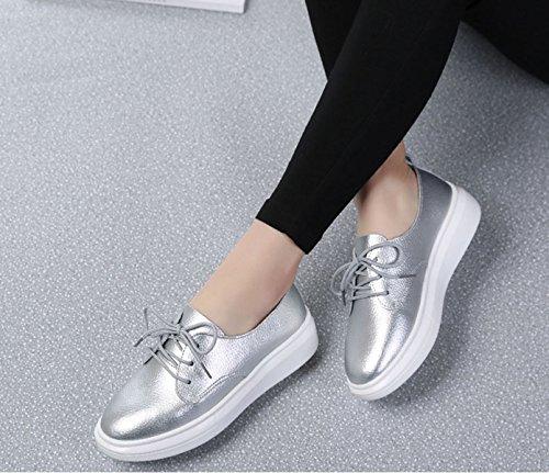 cordones Plata con Mujer JRenok Zapato qfwC4Ecg