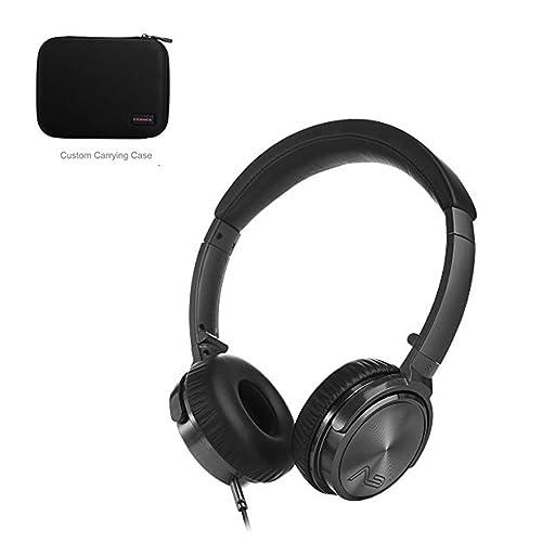LASMEX Hi-Fi Auriculares on Ear Lasmex C45, Radio Auriculares con Control de Volumen y Micrófono para Teléfono, Reproductor de mp3, TV etc.