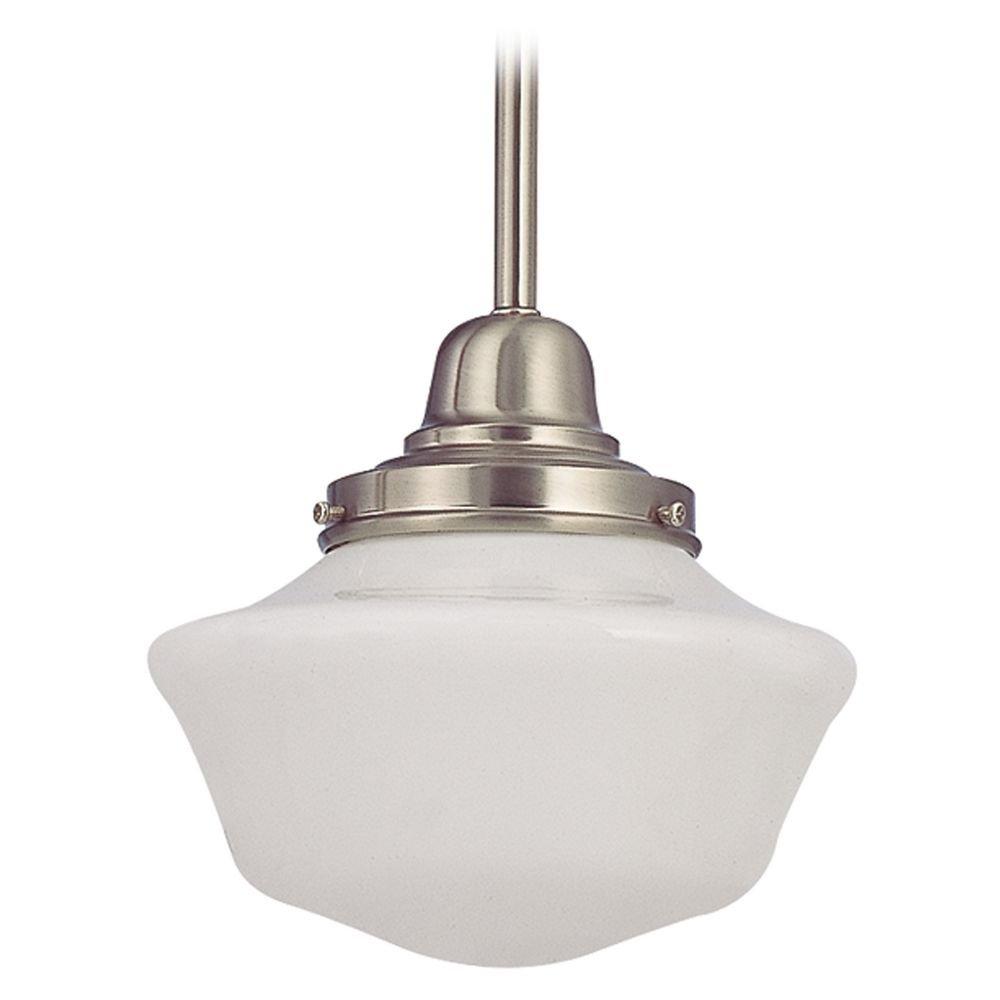 8-Inch Vintage Style Schoolhouse Mini-Pendant Light in Satin Nickel