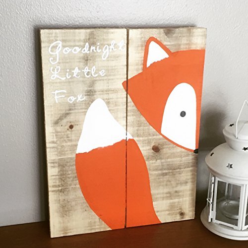 [10x14 Goodnight Little Fox Wood Sign, Nursery Decor, Baby Shower Gift or Baby Decor.] (Wood Boo Sign)