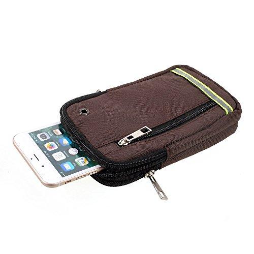 DFV mobile - Funda Cinturon Universal Multiusos Reflectante con 3 Compartimentos para => BQ AQUARIS E5 4G > Café