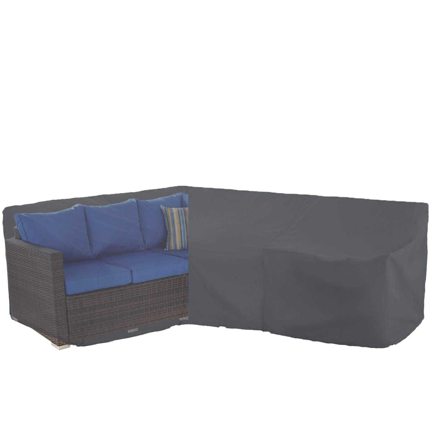 KATEIHOME Patio Furniture Sectional Couch Covers Durable Premium Outdoor Waterproof V Shaped 100'' L x 33.5'' D x 31'' H All Weather Protection Water Resistant Helpful Air Vent Grey by KATEIHOME
