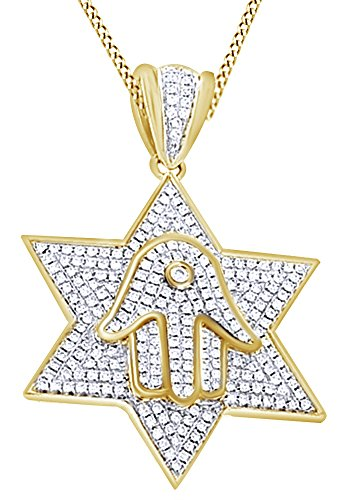 Round Cut Cubic Zirconia Star Hamsa Hip Hop Pendant in 14k Yellow Gold Over Sterling Silver (1.17 Cttw) by AFFY