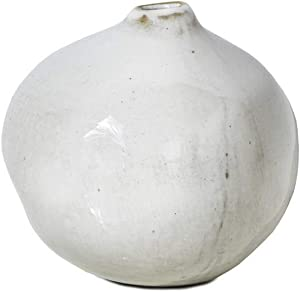 Serene Spaces Living Set of 2 Free-Form Glazed Ceramic Pomegranate Bud Vase- Centerpiece for Vintage Weddings, Events, Measures 3.5