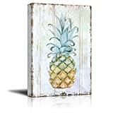 wall26 Canvas Wall Art - Pineapple on Wood Style Background - Giclee Print Gallery Wrap Modern Home Decor | Ready to Hang - 24x36 inches