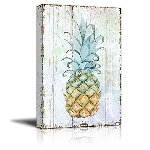 wall26 Canvas Wall Art - Pineapple on Wood Style Background - Giclee Print Gallery Wrap Modern Home Decor | Ready to Hang - 24x36 inches by wall26