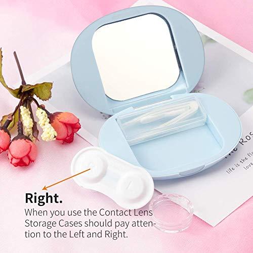 Contact Lens Box Crown Cute Contact Lens Travel Case Contact Lens Case Container Holder Storage Box Portable Contact Lens Travel Kits Cute Mini (Light blue)