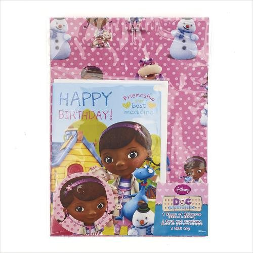 Disney Doc McStuffins Wrapping Paper with Birthday Card and Gift Tag by shop inc