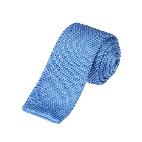 Black Knit Tie (DAO3E01I Royal Blue Solid Romance Fashion Skinny Neck Tie Woven Microfiber Beautiful Family By Dan Smith)