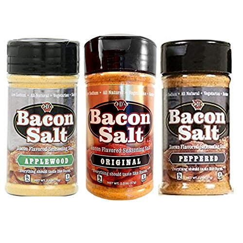 Bacon Salt Sampler 3 Pack - Original, Applewood & Peppered Bacon Flavored Salts Set