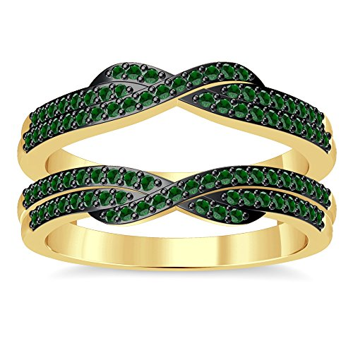 Silvergemking 14K Yellow Gold Plated Wedding Ring Guard Set 2.35 Ct Round Green Garnet Simulated Diamonds ()