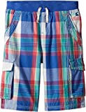 Joules Kids Baby Boy's Plaid Cargo Shorts (Toddler/Little Kids/Big Kids) Dazzling Blue Check 7-8