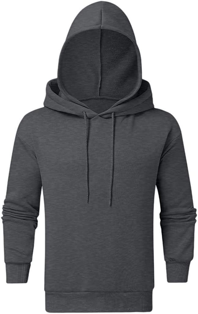 BingYELH Mens Hoodies Autumn Winter Fashion Solid Color Long Sleeve Hooded Drawstring Pullover Sweatshirt with Double Hood