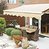 XtremepowerUS 12' x 10' ft Patio Manual Retractable Sun Shade Awning Weather Water Resistant UV Adjustable Shade, Beige