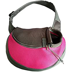Pink Pet Carrier, Soft Mesh Chihuahua Carrier Small Dog Cat Rabbit Tote Sling Bag for Walks (Pink, S, fits small animals less than 5lb)