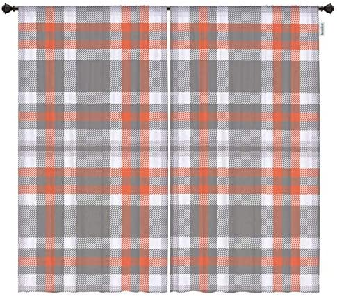 Moslion Buffalo Check Window Curtains Vintage Grey Orange Plaid Scottish Gingham Tartan Black Out Window Treatment Curtains Polyester 2 Panels Kitchen Bedroom 54×96 Inch