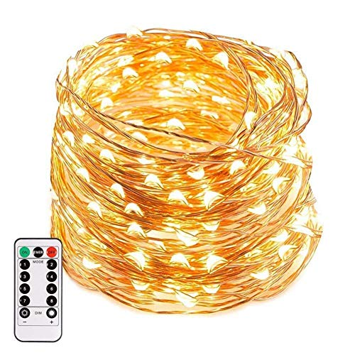 66Ft 200leds Waterproof Copper Wire Starry String Fairy Lights Bendable and Flexiable Perfect Hanging for Tapestry | Wedding | Party | Home | Garden | Bedroom | Indoor | Outdoor Wall Decor-Warm White