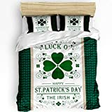 3 Piece Bedding Set Full, Luck O' St Happy Patrick's Day The Irish Duvet Cover Set for Girls Boys Children Adult, Ultra Soft and Easy Care Sheet Quilt Sets with Decorative Pillow Covers
