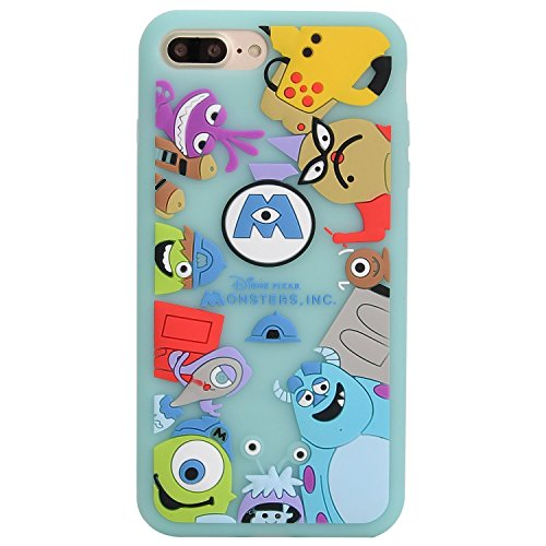 Slim Fit Soft Silicones Green Monsters University Case for iPhone 7+ 7Plus 8Plus Large 5.5
