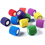 WePet Vet Wrap, Vet Tape Bulk Self-Adherent Gauze Rolls Non-Woven Cohesive Bandage First Aid for Dogs Cats Horses Birds Animals Strong Sports Tape for Wrist Ankle 2 Inch x 12 Rolls (6 Colors)