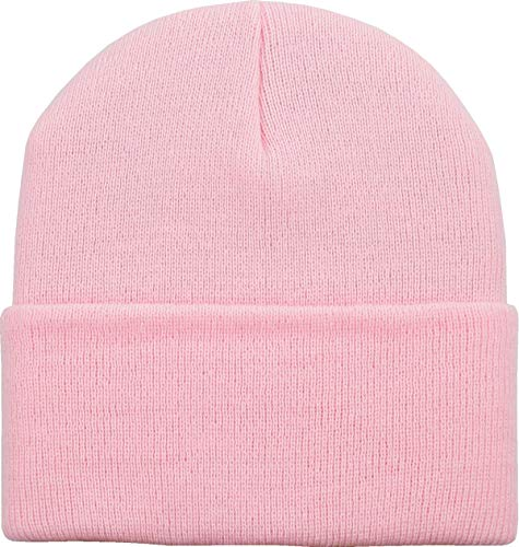 SKIHAT-Long LPK Thick Beanie Skully Slouchy & Cuff Winter Hat Made in USA Light Pink