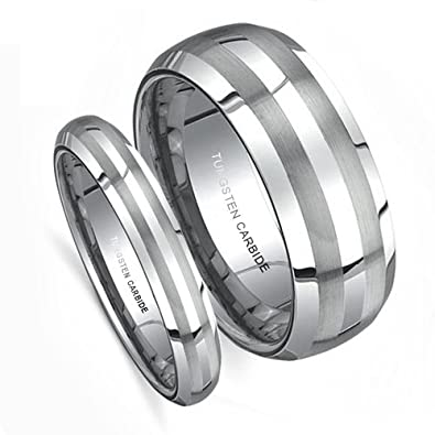 Top Value Jewelry Matching Wedding Band Set His Her Tungsten