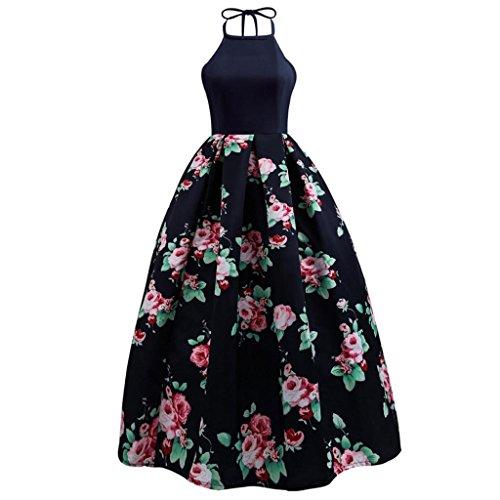 MCYs Damen Neckholder Vintage Blumen Gedruckt Lange 1950er Kleid Ärmellose  A-line Knielang Rockabilly Festliches 7fb6a29556