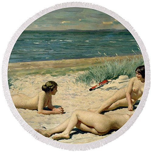"Pixels Round Beach Towel With Tassels featuring ""Nude Bathers On The Beach"" by Pixels"