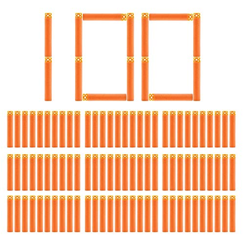 BOROLA 100Pcs Hollow Out Soft Foam Refill Darts for Nerf N-Strike Elite Series Blasters(Orange) ()