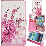 WwWSuppliers Asian Cherry Blossom Pink & White Flowers & Bees Print Slim PU Leather Wallet Case for Samsung Galaxy S3 i9300 i747 T999 L710 i535 White Credit Card Cash Flip Purse Cover + Screen Protectors & Stylus