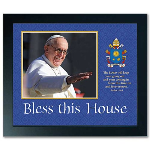 Pope Francis Framed Print House Blessing with Holy Card Free Cross Bookmark Included 10 by 12 Inches