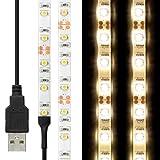 Flexible USB LED Strip Light, Minger 3.28ft 60leds 3528 Warm White LED Rope Strip Light Adhesive Tape for TV, Monitor Backlight