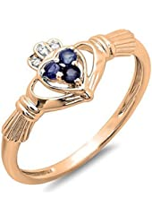 10K Gold White Diamond & Blue Sapphire Bridal Promise Irish Love Claddagh Heart Shape Ring