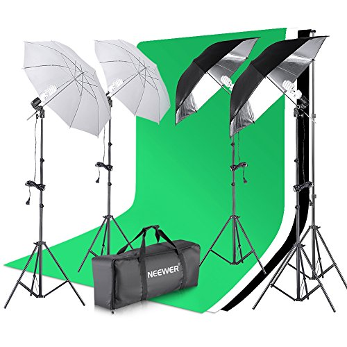 Neewer 8.5x10 feet/2.6x3 meters Background Support System and 800W 5500K Translucent Soft White, Black/Silver Umbrellas Continuous Lighting Kit for Photo Studio Product,Portrait and Video Photography by Neewer