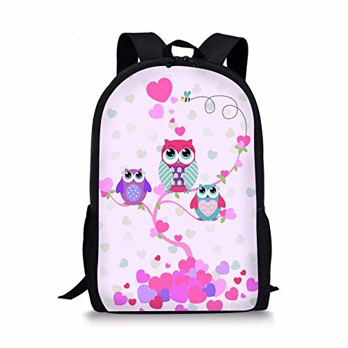 Coloranimal Girls Cute School Pink Backpack Popular Animal Owl Pattern Bookbags for Kids