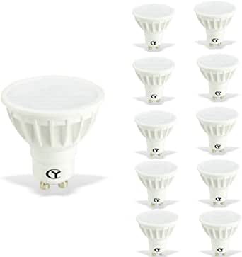 CY LED 6W MR16 GU10 LED Bulbs, 50W Halogen Bulbs Equivalent, 500lm,Cool White 6000K, 120°Beam Angle, Recessed Lighting, Track Lighting, LED Light Bulbs, Pack of 10 Units