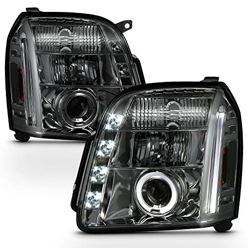 ACANII - For 2007-2013 GMC Yukon Denali XL SUV LED Halo Smoked Lens Projector Headlights Headlamps, Driver & Passenger